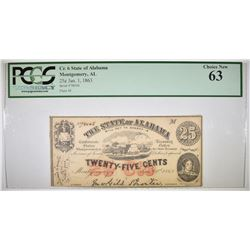 1863 25 CENT STATE OF ALABAMA PCGS 63