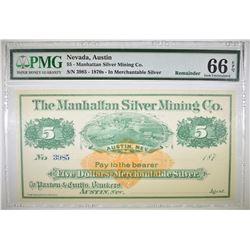 1870'S $5 MANHATTAN SILVER MINING CO.  PMG 66 EPQ