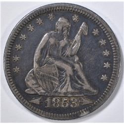 1853 ARROWS & RAYS SEATED LIBERTY QUARTER  VF/XF