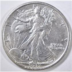 1917-D REV WALKING LIBERTY HALF DOLLAR AU