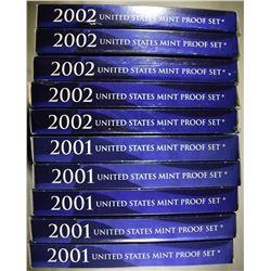 5-2001 & 5-2002 U.S. PROOF SETS ORIG PACKAGING