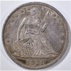 1881 SEATED LIBERTY HALF DOLLAR XF  scarce date