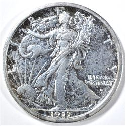 1917-D OBVERSE WALKING LIBERTY HALF DOLLAR, AU