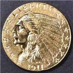 1911-D STRONG D $2.5 GOLD INDIAN AU/BU