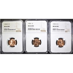 1955-S, 58 & 58-D LINCOLN CENTS, NGC MS-66 RED