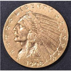 1908 $2.5 GOLD INDIAN AU