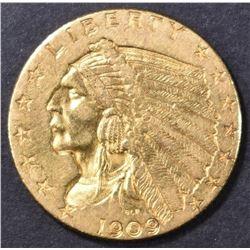 1909 $2.5 GOLD INDIAN AU
