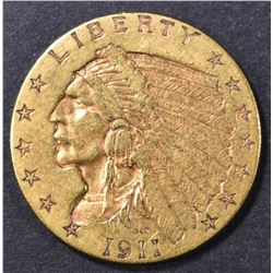 1911 $2.5 GOLD INDIAN AU