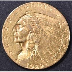 1929 $2.5 GOLD INDIAN AU