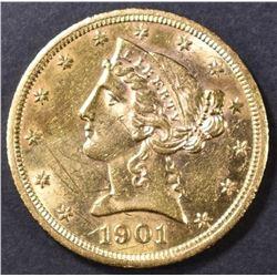 1901-S $5 GOLD LIBERTY  BU SOME MARKS REV.