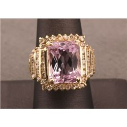19RPS-44 KUNZITE & DIAMOND RING