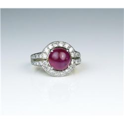 19CAI-6 BURMESE RUBY & DIAMOND RING