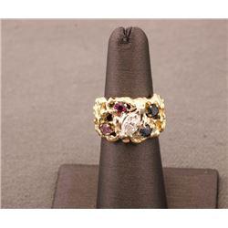 19RPS-2 DIAMOND, RUBY & SAPPHIRE RING