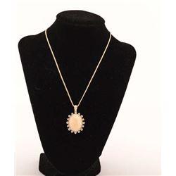 19RPS-11  GOLDEN OPAL & DIAMOND NECKLACE