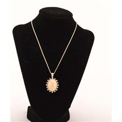 19RPS-11  GOLDEN OPAL & DIAMOND NECKLACE
