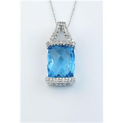 19CAI-44 BLUE TOPAZ & DIAMOND PENDANT