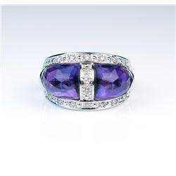 19CAI-45 AMETHYST & DIAMOND RING