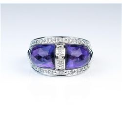 19CAI-45 AMETHYST & DIAMOND RING