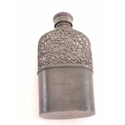 19KZ-11 OVERLAYED GALSS PEWTER FLASK