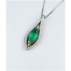 19CAI-13 COLOMBIAN EMERALD & DIAMOND PENDANT