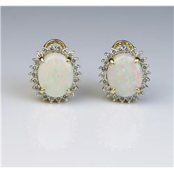 19CAI-21 OPAL & DIAMOND EARRINGS