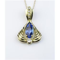 19CAI-32 TANZANITE & DIAMOND PENDANT