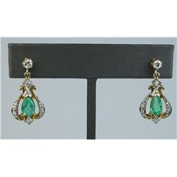 19CAI-14 EMERALD & DIAMOND EARRINGS