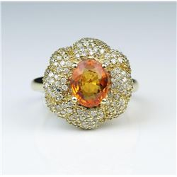 19CAI-15 ORANGE SAPPHIRE & DIAMOND RING