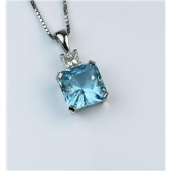 19CAI-22 BLUE AQUAMARINE & DIAMOND PENDANT