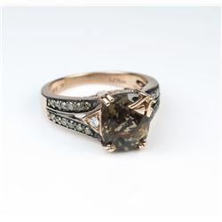 19CAI-38 LEVIAN CHOCOLATE TOPAZ & DIAMOND RING