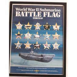 19IE-8 POSTER OF WWII SUB BATTLE INSIGNIAS
