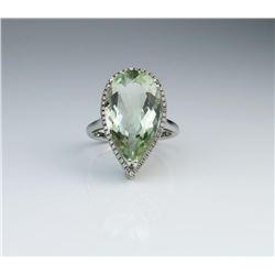 19CAI-46 GREEN AMETHYST & DIAMOND RING