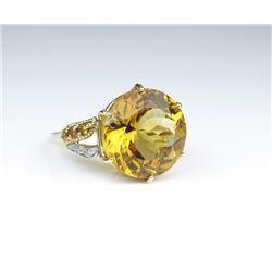 19CAI-47 CITRINE & DIAMOND COCKTAIL RING