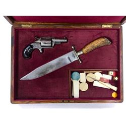 Gamblers Kit In Fitted Box. Revolver, Knife & Dice