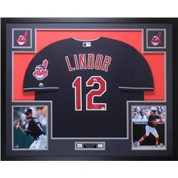size 40 a029f 67a97 Francisco Lindor Signed Cleveland Indians 35x43 Custom ...
