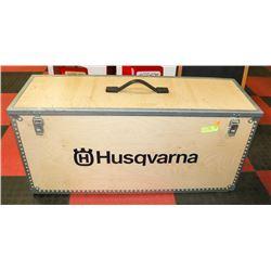 HUSQVARNA WOODEN STORAGE BOX.