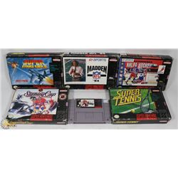LOT OF 6 SUPER NINTENDO VIDEO GAMES INCL 5 WITH