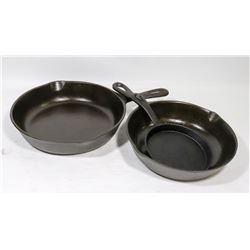 LOT OF 3 CAST IRON FRY PANS.