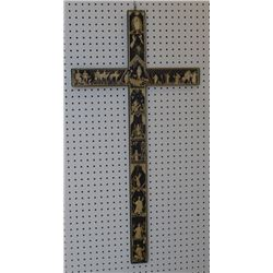 NEW MEXICAN STRAW INLAID CROSS (PAULA RODRIGUEZ)