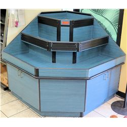 Blue 3 Tier Hexagon Shaped Display Corner Unit
