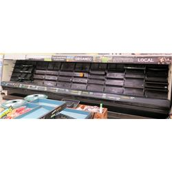 Long Open Front Refrigerated Produce Display Case w/ Pull Down Blinds
