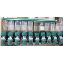 Qty 10 Side x Side Teal & Clear Plastic Snack Dispensers