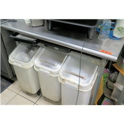 "Stainless Steel Prep Table 48"" x 30"" w/ 3 Plastic Bins Underneath"