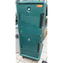 Qty 2 Green Stacked Cabinet Storage for Trays