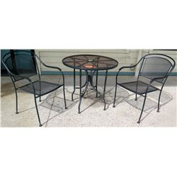 "Qty 3 Black Wrought Iron 30"" Outdoor Tables & 6 Matching Chairs"