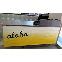 "Long Wooden Customer Service Counter w/ Shelves & Aloha Painted 73""Lx24""Dx36""H"