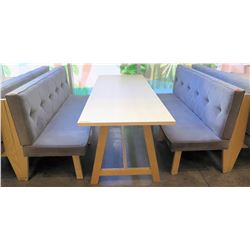 "Rectangular Wooden Table (87x29.5"")  w/ 2 Upholstered Bench Seats (26""x70"")"