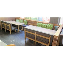 "Qty 2 Wooden Tables (87""x29.5"") w/ Upholstered Bench Seats, Cushions & Long Modular Bench Seating"