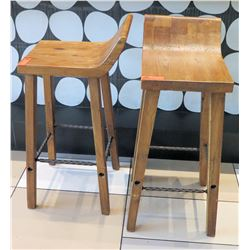 "Qty 2 Wooden Barstools w/ Iron Accent (35""H)"