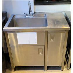 "Stainless Sink w/ Prep Section & Undershelving 38""x26""x35""H"